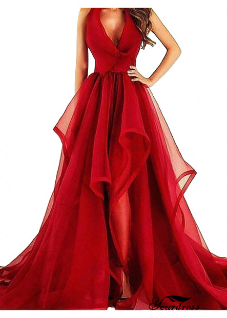 Yourdress Red Tulle Prom Evening Dress For Wedding Or Party