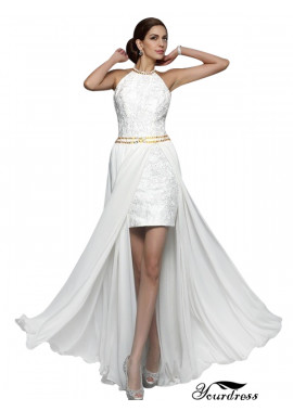 Yourdress 2020 2 In 1 Lace Short Wedding Dress