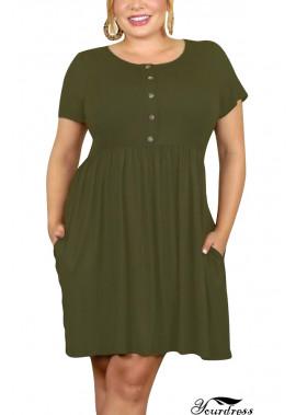 Button Pocket Short Sleeve Casual Plus Size Dress T901554104108