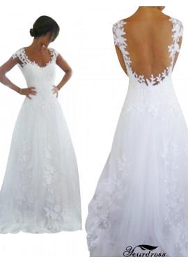 See Through Back Lace Flower Wedding Dress UK 2021