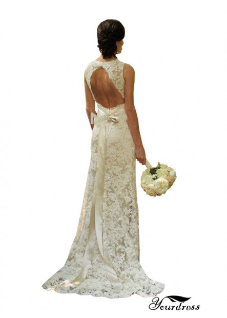 Sheath Backless Lace Wedding Dress Near Me With Sash 2021