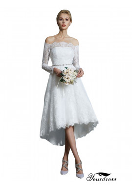 Yourdress 2021 Long Sleeves Short Lace Wedding Dress