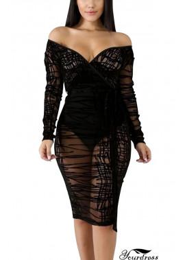 Black Off Shoulder V Neck Mesh Sheer Sexy Plus Size Lace Dress T901554279595