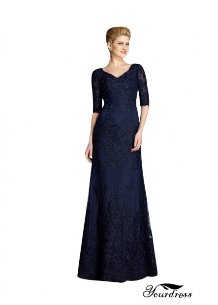 Yourdress Long Mother Of The Bride Dress V Neck With Sleeves