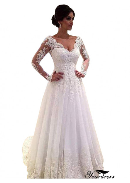 Yourdress 2021 Long Sleeve Casual Wedding Dress UK Sale