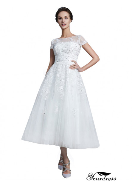 Yourdress UK 2021 Short Wedding Dress With Cap Sleeves