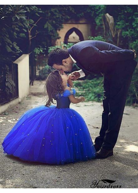 Yourdress Royal Blue Tulle Cheap Flower Girl Dresses