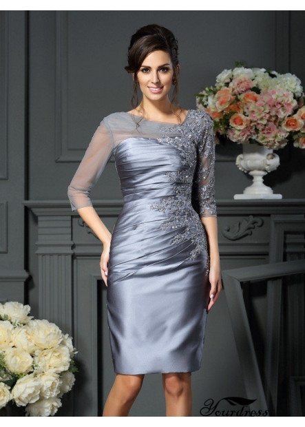 Yourdress Mini Mother Of The Bride Dress With Ruched and Beads