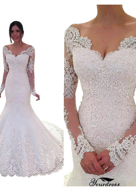 Yourdress 2021 V Neck Mermaid Wedding Dress With Long Sleeves