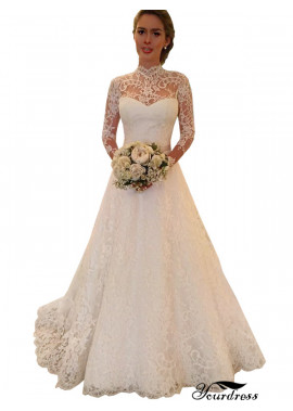 Yourdress 2021 Lace Ball Gowns Wedding Dress High Neck