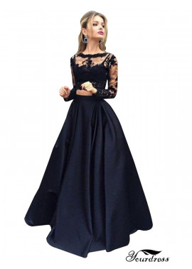 Yourdress Lace Black Long Prom Evening Dress