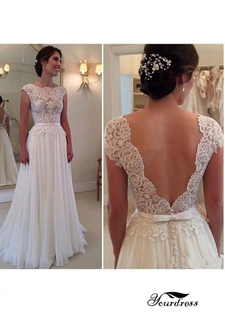 Yourdress Beach Lace Wedding Dresses With Open Back
