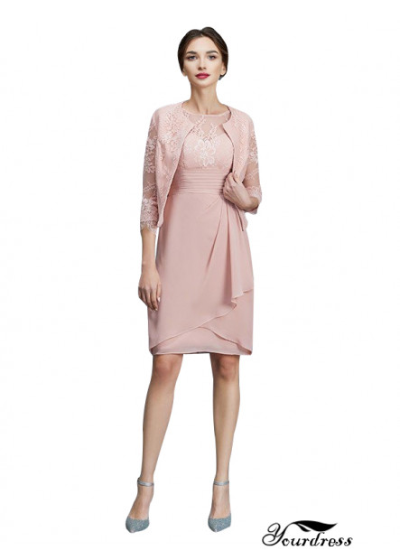 UK Short Cheap Pink Mother Of The Bride Dress With Chiffon Jacket