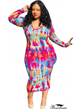 Multi Tie Dye Scoop Neck Sexy Plus Size Bodycon Dress T901554358384