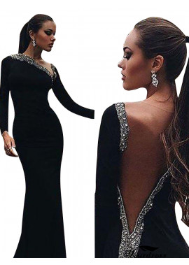 Tmdress Black Mermaid Long Evening Dress