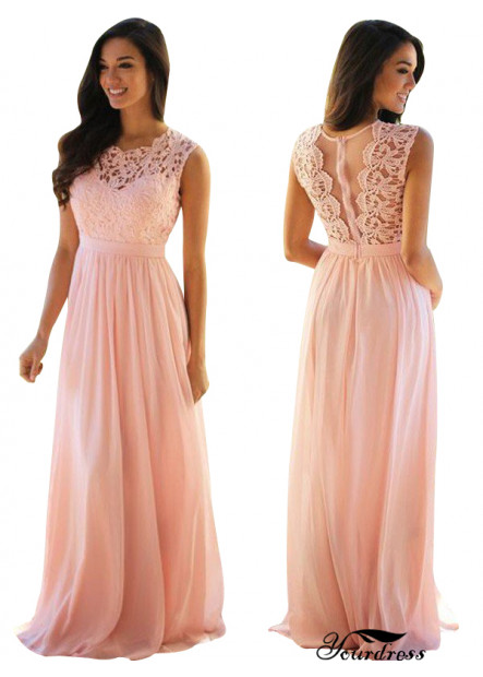 Yourdress Pink Lace Prom Dress Bridesmaid Evening Dress