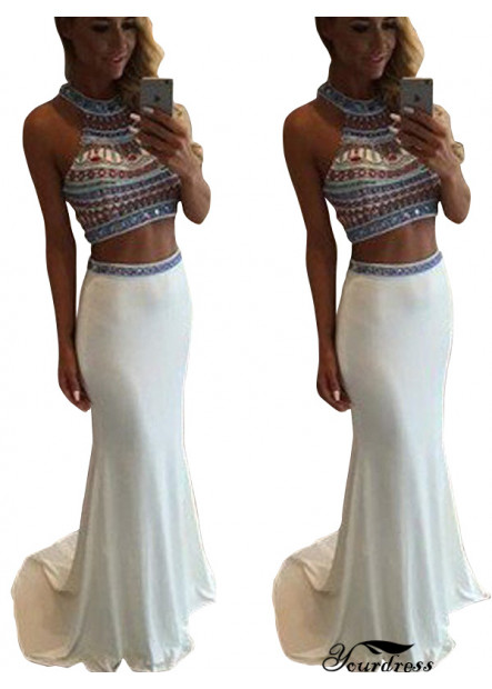 Yourdress Two Piece Long Mermaid Long Prom Evening Dress