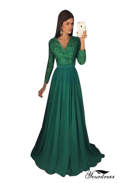 Yourdress Emerald Green Long Prom Evening Dress With Long Sleeves