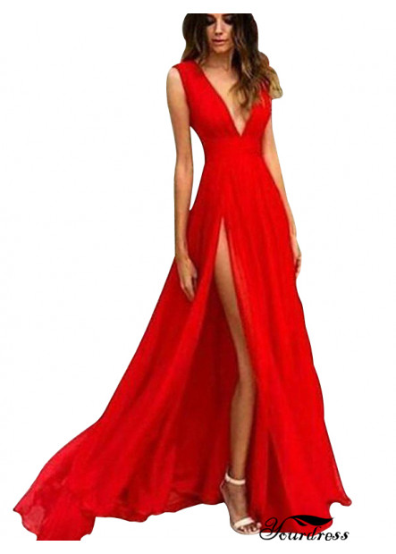 Yourdress Deep V Neck Red Sexy Long Prom Evening Dress UK