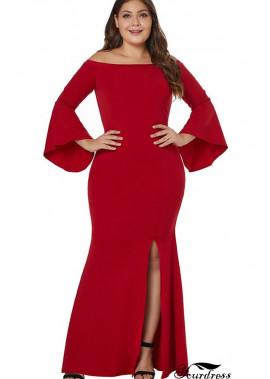 Slit Flare Sleeve Off Shoulder Sexy Maxi Plus Size Mermaid Dress T901554364238