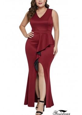 V Neck Sleeveless Slit Ruffles Sexy Maxi Plus Size Dress T901554106147
