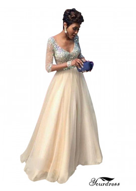 Yourdress Champagne Long Prom Evening Dress