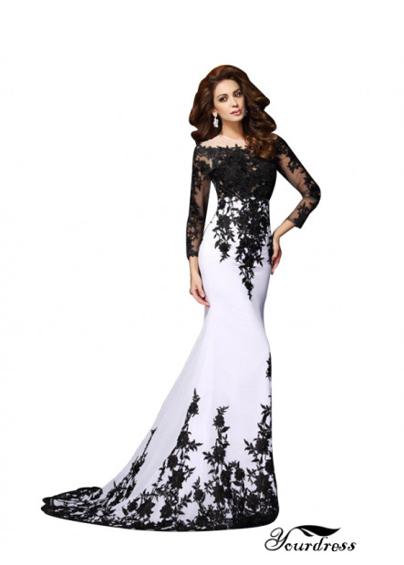 Long Sleeves Women Prom Evening Dresses With Black Lace Flower
