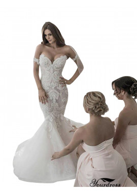 Off The Shoulder Sweetheart Neck Mermaid Wedding Dresses 2021