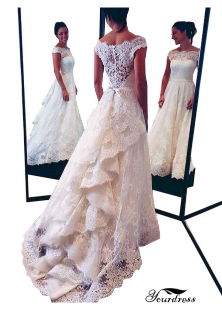 Yourdress 2021 Beach Lace Wedding Dresses