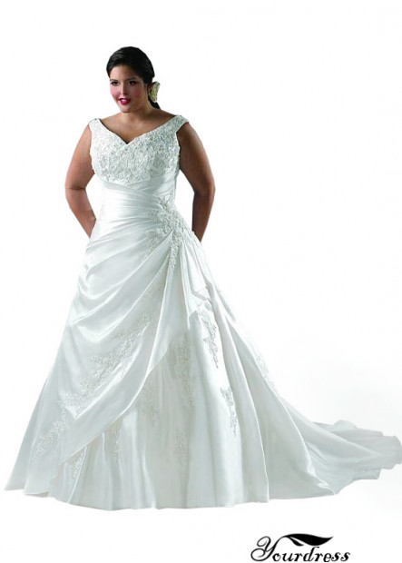 Yourdress Plus Size Ivory Wedding Dress Bridal Gowns With Ruched