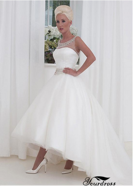 Yourdress Tea Length Wedding Dress Front Short Back Long With Beading
