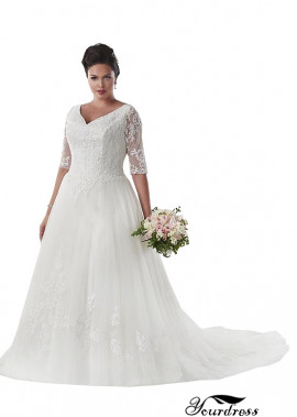 Yourdress Plus Size Appropriate Wedding Dress For 50 Year Old