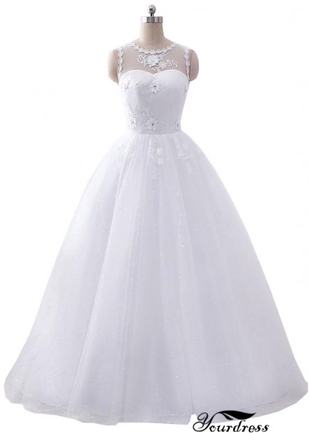 Yourdress Scoop Neck A Line Wedding Dress With Lace Flower UK