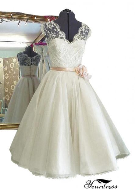 Yourdress Short Wedding Dress With Sash  On The Waist