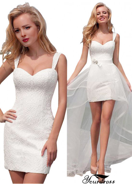 Yourdress Beach Short Wedding Dresses With Train In the Back