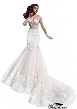 Yourdress White Sheath Lace Wedding Dress