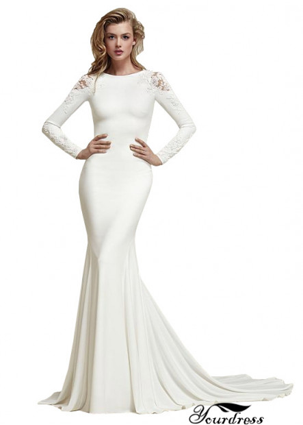 Yourdress Sheath Long Sleeves Wedding Dresses With Sweep Train