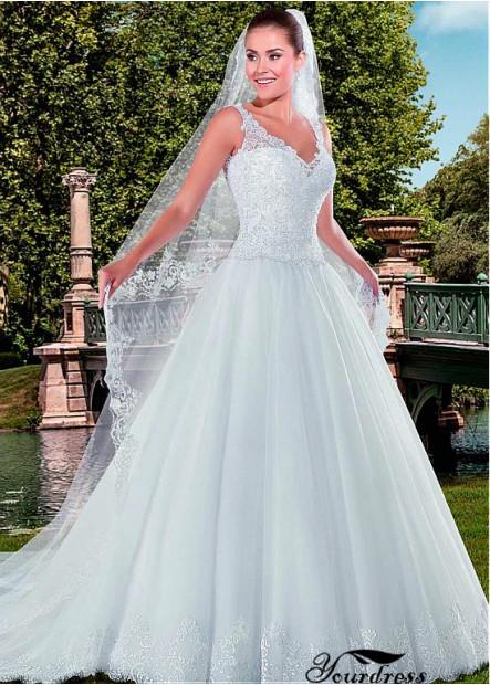 Yourdress Plus Size V Neck Wedding Dress Ball Gowns UK