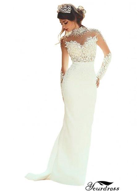 Yourdress Best High Neck Mermaid Wedding Dress UK