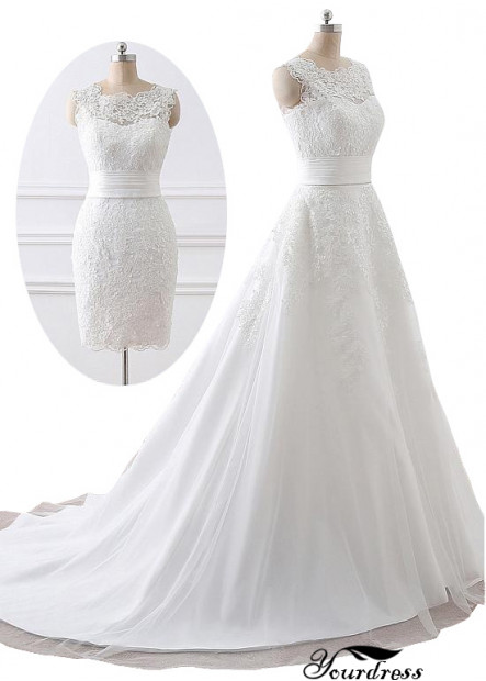 Yourdress 2021 Lace Wedding Dress With Removable Train
