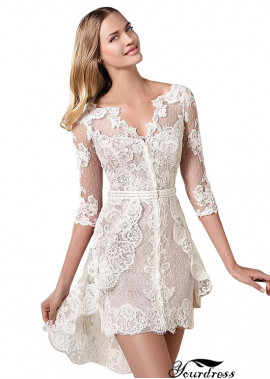 Yourdress Lace Short Wedding Dress Mini Cocktail Party Dress