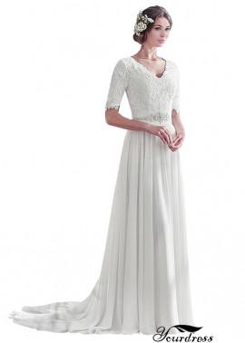 Chiffon Full Length Maxi Dresses UK Wedding With Short Sleeves