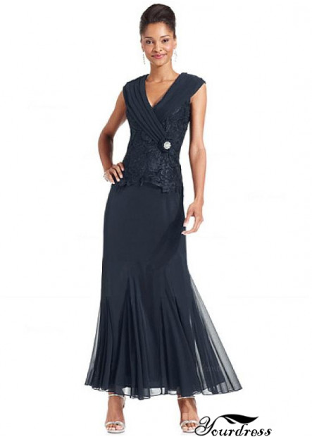 Yourdress Navy Sheath Mother Of The Bride Evening Dress V Neck