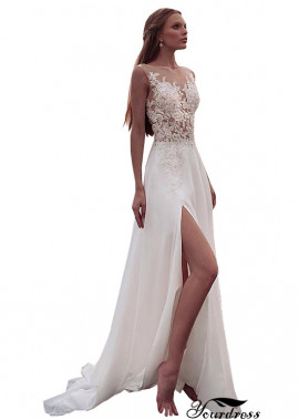 Yourdress Sexy Chiffon Wedding Dresses UK With Slit On The Left