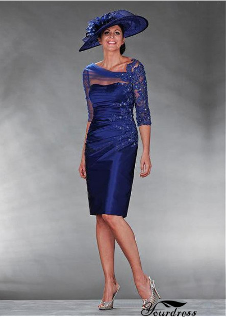 Short Dresses UK For Mother Of The Bride With Sleeves And Beading