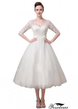 Tea Length Tulle A Line Wedding Dresses UK With Sleeves
