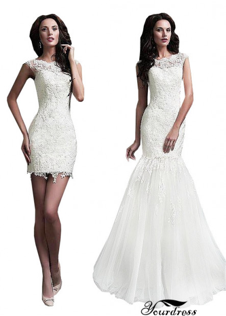 Yourdress Lace Sheath Wedding Dresses With Removable Train