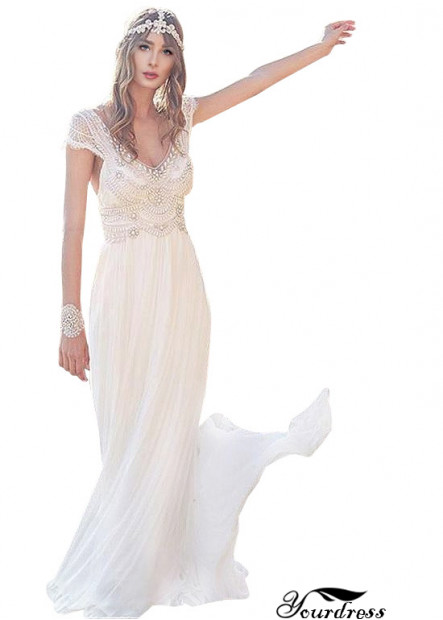 Civil Deep V Cap Sleeves Wedding Dresses UK With Crystals