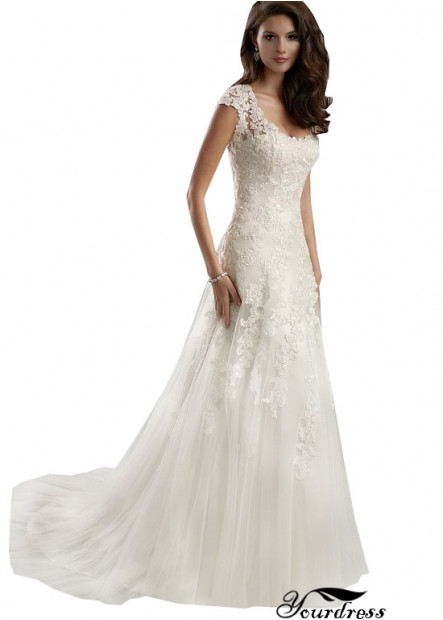 Yourdress Bridal Tulle Wedding Dress With Lace Flower UK