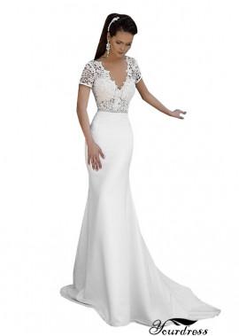 V Neck Satin Sheath Wedding Dresses 2021 UK With Sleeves